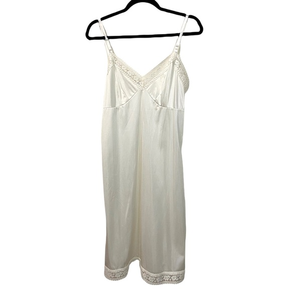 Vintage Wondermaid Womens Size 36 Lingerie Nighty Slip Sleepwear Nylon Lace Trim